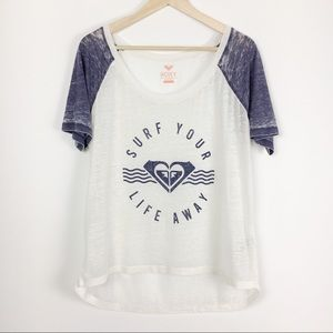 Roxy Surf Your Life Away Blue & White Burnout Tee